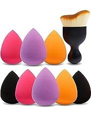 Amazon Brand – Eono 8+1 stks make-up spons & Contour borstel, blender spons, latexvrij, professionele schoonheid mengen spons voor droog of nat gebruik, meerkleurig