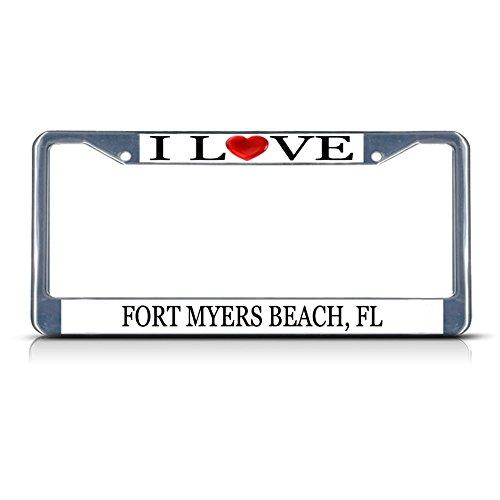 (Sign Destination Metal License Plate Frame Solid Insert I Love Heart Fort Myers Beach, Fl Border Car Auto Tag Holder - Chrome 2 Holes, One Frame)