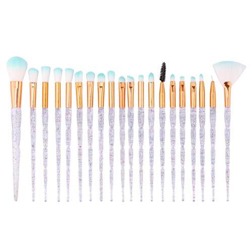 DICPOLIA Beauty Makeup Brush Set Eyeshadow Brushes Toiletry Kit Wool Makeup Brush Set Professional Eyeliner Lip Powder Liquid Cream Cosmetic Brushes Kit (20pcs,Clear) (Clear)