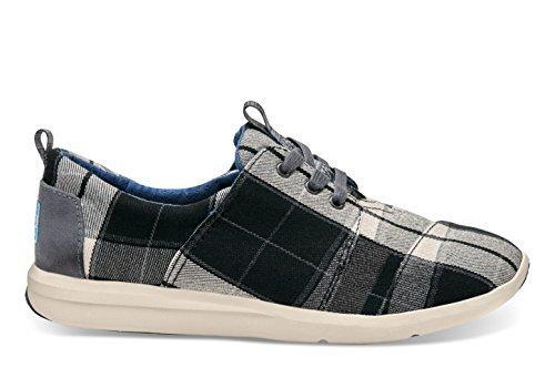TOMS Women's Del Rey Sneaker Black/White Plaid Sneaker 5 B (M)