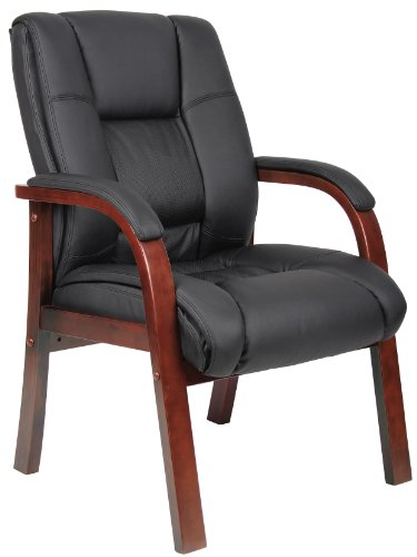 Boss Boss Office Products B8999-C Mid Back Wood Finished Guest Chairs by Boss Office Products