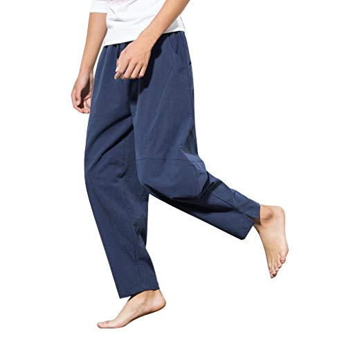 (YAYUMI Men's Summer Harren's Baggy Wide-Legged Pants Fashion Comfortable Size Wide Leg Pants Navy)