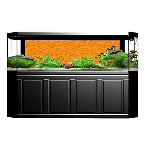 UHOO2018 Aquarium Sticker Monochrome Design with Traditional Halloween Themed Various Objects Celebration Day Orange Fish Tank Backdrop Static Cling -