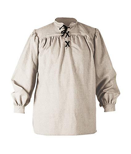 Mens Medieval Pirate Shirt Renaissance Lace up Cotton Viking Tee Halloween Mercenary Scottish Jacobite Ghillie Tops