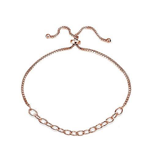 Rose Gold Flashed Sterling Silver Polished Pull-String Loop Adjustable Charm Link Chain Bolo Bracelet - Loop Chain Bracelet