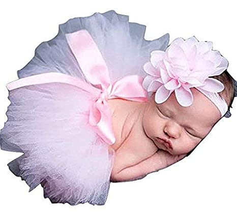 Traje para bebé recién nacido de tutú, falda de flores de punto para bebé rosa rosa Talla:baby