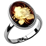 Amber Sterling Silver Cameo Ring Sizes 5,6,7,8,9,10,11,12