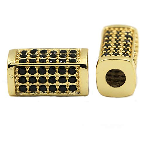 Howerlth 6pcs Rectangular Square Mens Spacer Beads Charms/Black Micro Pave Bead/Cubic Zirconia CZ Space Beads,Black/Gold/Silver/Rosegold Plated (Yellow)