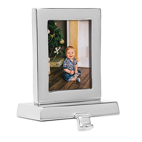 BIRDROCK HOME Photo Frame Stocking Holder - Holiday Greetings Mantle Fireplace Topper - Decorative Christmas Stocking Holder - Stainless Steel Rectangle (Stockings Mantle Holders Christmas)