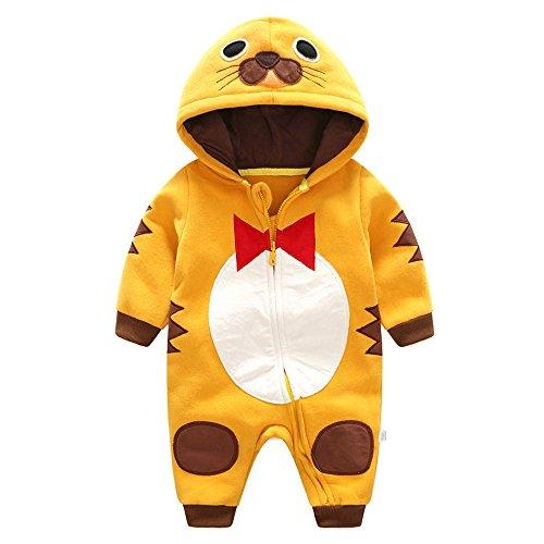 Cute Bear Jumpsuit Costumes (Birdfly Newborn Baby Penguin Romper Zip Up Hooded Jumpsuit Cute Dress Up Animal Costume Thick Fleece Bodysuit Winter Cozy Outfits (3M, Mustard))