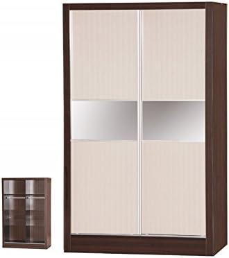 Alpha crema brillo y nogal 2 puerta corredera para armario: Amazon.es: Hogar