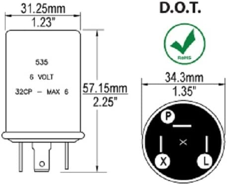 amazon.com: 6 volt 3 prong turn signal flasher pos. grnd bv535 ... three prong flasher wiring diagram  amazon.com