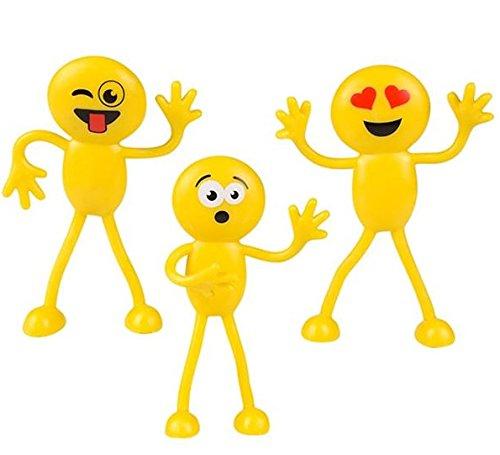 Emoji Party Favors – Fun Toys – Stocking Stuffers – 2 Dozen 3″ Emoji Smiley Face Emoticon Bendables Bulk pack of 24