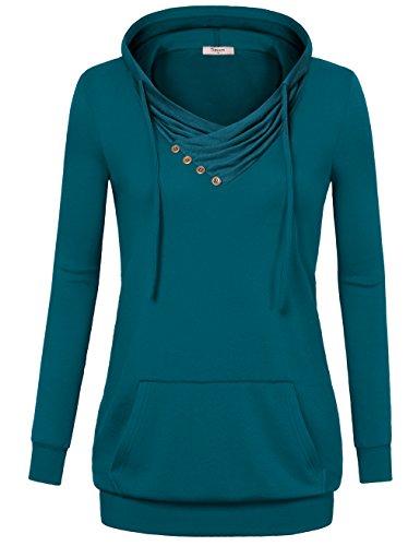 Timeson Sweatshirts For Women, Women's Crowl Neck Drawstring Lightweight Hoodie Fashion Sweatshirts Dark Cyan Large