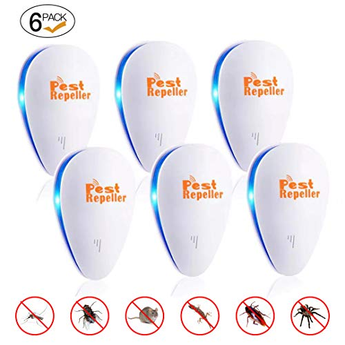 Ultrasonic Pest Repeller 6 Pack ,2020 Newest Pest Repellent,Pest Control Set of Electronic Plug in Repellent Indoor for Flea, Mosquitoes, Mice, Spiders, Ants, Roaches, Non-Toxic, Humans & Pets Safe