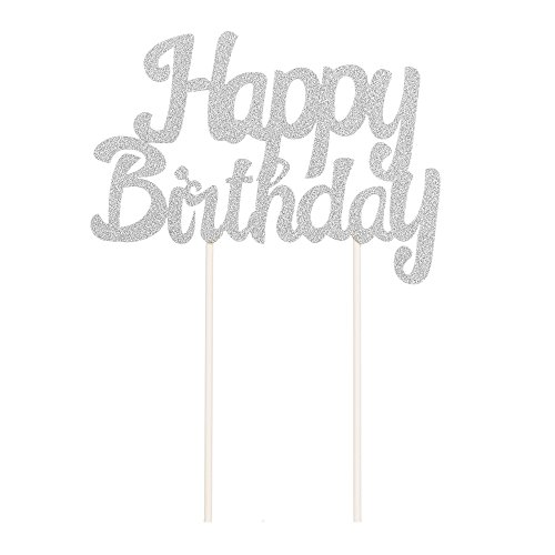LXZS-BH Large Happy Birthday Silver Glitter Cake Topper