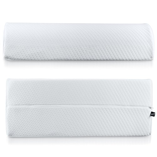 Abco Tech Half Moon Pillow Bolster - Pain Relief Memory Foam Cushion with Removable/Washable Cotton Cover – Reduced Stress on Spine, Effective Support for Side and Back Sleepers etc. (White) by Abco Tech (Image #6)