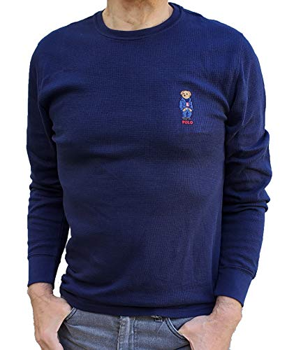 Polo Ralph Lauren Men's Waffle Knit Crew Neck Thermal Sleepware Shirt with Polo Bear Logo (Large, Navy/Jean Jacket Bear)