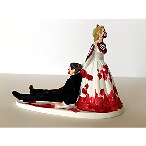 Funny wedding cake toppers amazon love never dies funny zombie wedding cake topper zombie bride dragging groom away junglespirit Images