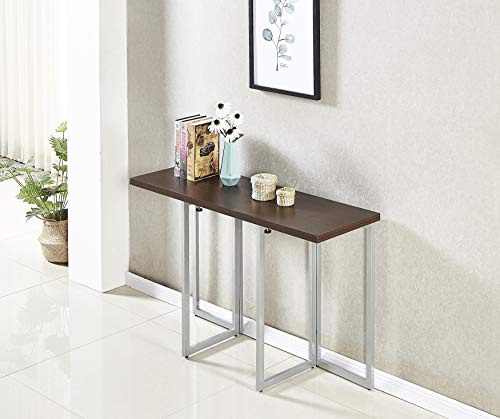 Minimax Decor Multi-Purpose Modern Space Saving Expandable Desk and Dining Table Transforms from a Console Table or Desk to a Large Dining Table. Seats 6 When Fully Extended. Black Melamine Finish