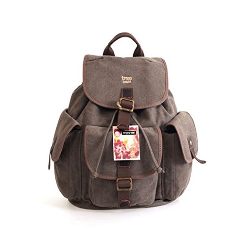 troop-london-trp-0268-unisex-casual-backpack-canvas-leather-vintage-travel-bag