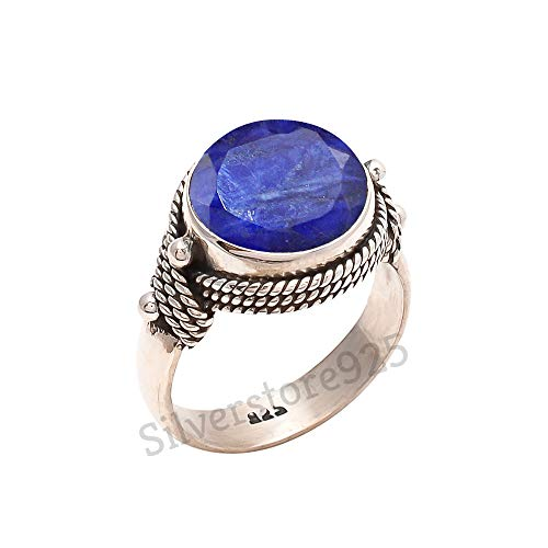 Promise Ring Handmade silver Ring 925 Sterling Silver Ring Size 3 to 15 Ring September Birthstone Natural Blue Sapphire Ring
