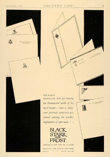 1928 Ad Blak Starr Frost Jewelers Letters Fifth Avenue - Original Print - 5th 48th And