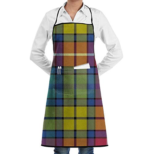 SKYLIHGT Bib Apron with 2 Pockets Buchanan Ancient Tartan Extra Long Ties Kitchen Aprons for Women and Men, Resistant to Droplets