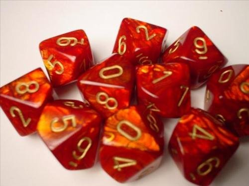 Chessex Dice Sets: Scarab Scarlet with Gold - Ten Sided Die d10 Set (10)