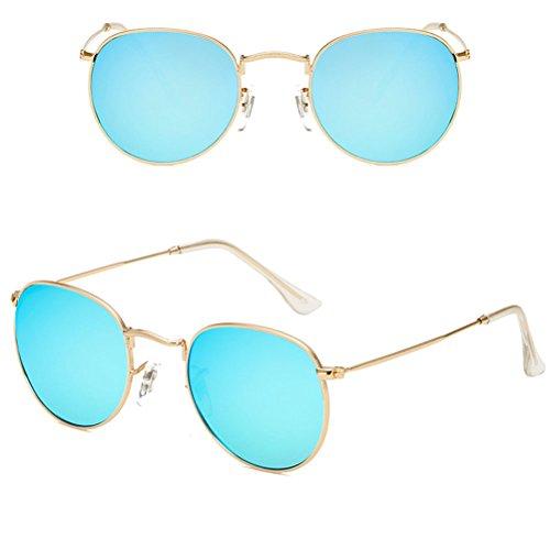 amp;Blue à Zhhlinyuan for Oversized soleil Protection Metal Gold UV Men Women lunettes de Designer lunettes Mode Sunglasses Étui Qualité Round Sport RpRTw