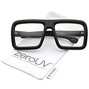 zeroUV - Oversize Bold Thick Frame Clear Lens Square Eyeglasses 58mm (Matte Black / Clear Lens)