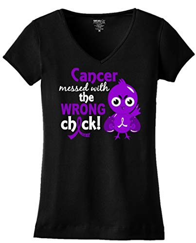 Purple Chick - Fight Like a Girl Cancer Messed with The Wrong Chick Ladies V-Neck T-Shirt (3X-Large, Black w/Purple)