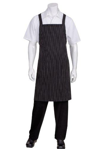 Chef Works Unisex Cross-Back Bib Apron, Black W/White Pinstripe, One Size