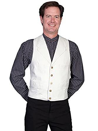 Victorian Men's Vests and Waistcoats Cotton Canvas Vest - Natural  AT vintagedancer.com