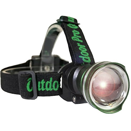 Lighthouse Beacon 1000 SUPER BRIGHT LED Headlamp - The best and brightest spotlight headlight - zoomable water resistant - rugged shock proof flashlight - hiking hunting camping headlamp (GREEN)