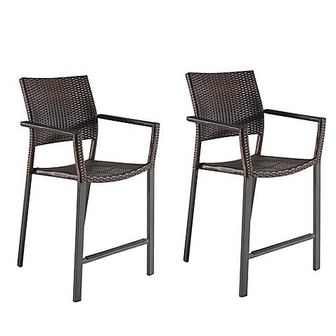 Modern Square Stacking Balcony Chairs in Brown (Set of 2) - (23