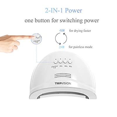 LED Nail Lamp TOPVISION UV Nail Dryer, 24pcs LEDs 48W-24W Switch with 30s/60s/90s Timer Setting & Auto Sensor for Gel Nail Polish