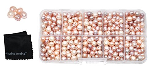 Pink Freshwater Wire Pearls (Mudra Crafts Real Freshwater Cultured Pearls for Jewelry Making, Loose Bulk Predrilled Bead Kit (6-8mm, Pink))