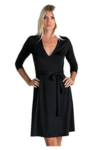 Les Amis Womens Black Wrap Dress Large At Amazon Womens Clothing