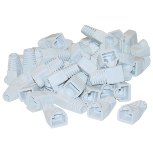 RJ45 Strain Relief Boots, White, 50 Pieces Per Bag - Coded Modular Shielded Plug Mod Ethernet Connector
