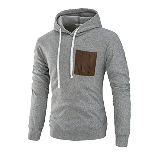Men's Autumn Winter Pocket Drawsting Casual Splicing Hoodie Top Blouse Sweatshirt