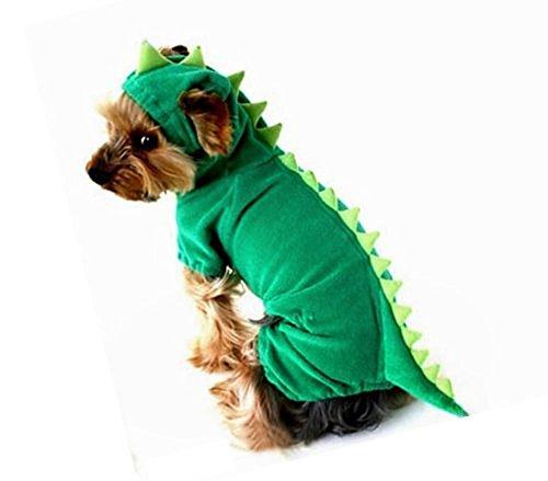 Raptor Costume Dog (Puppy Dog Dinosaur Dragon Costume Hoodie Jumpsuit Jumper Pet Winter Coat Warm Clothes (XL, #1 Green))