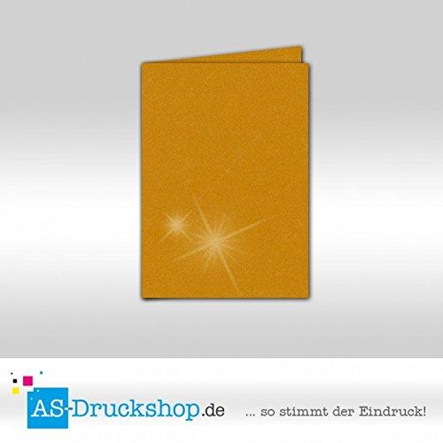 Faltkarte Doppelkarte - Gold metallic 100 Stück DIN A5 B0794YTRVQ | Auf Verkauf