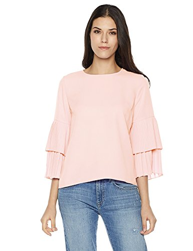 Plumberry Women's Ruffled-Sleeve Zip-Back Casual Blouse Top X-Large ()