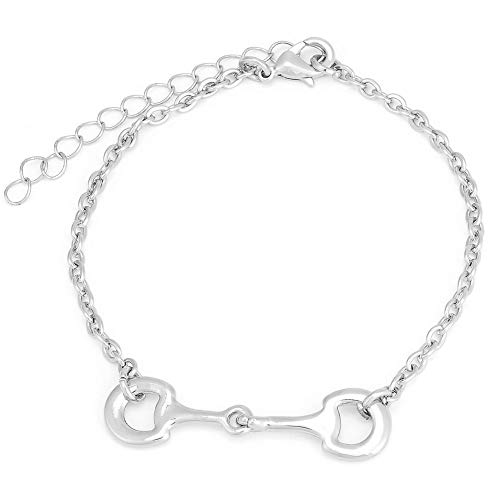 (SENFAI Horse Snaffle Bit Hook Clasp Charm Bracelet Bangle Jewelry (Chain Bracelet, Rhodium-Plated-Base-Metal))