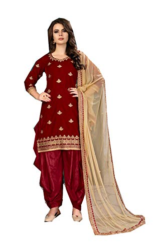 (daindiashop-USA Readymade Salwar Kameez Ready to Wear Suit Embroidery Work Wedding Partywear Dress in Maroon Velvet)