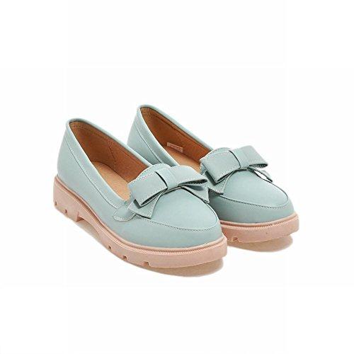 Carolbar Carol Shoes Women's Sweet Cute Flat Bows Platform Loafer Shoes Blue azSPakY