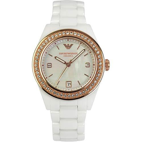 Emporio Armani Crystal Bezel Ceramic Bracelet Watch, ()