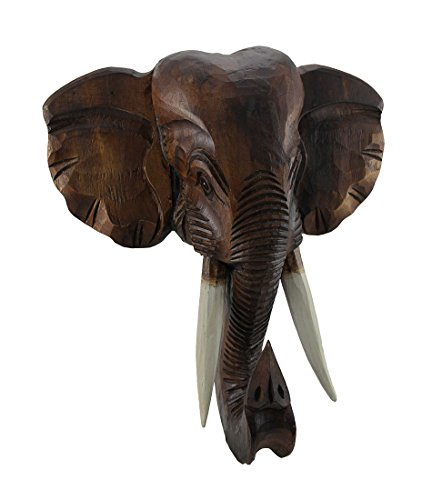 Zeckos Hand Carved Wooden African Elephant Head Mount Wall Statue Bust