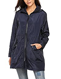 Zeagoo Women Casual Hooded Long Sleeve Zip Up Rainproof Windproof Jacket Raincoats